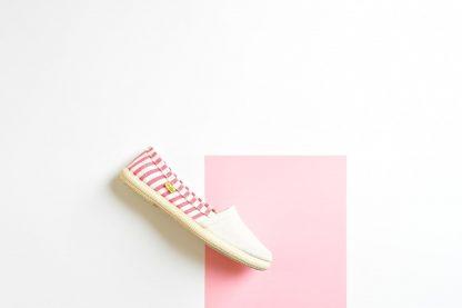 Pez-Amarillo-camping-bamba-alpargata-suela-de-caucho-made-in-spain-mediterranean-hecho-en-españa-algodon-100%-rayas-stripes-rosa-gris-aguamarina